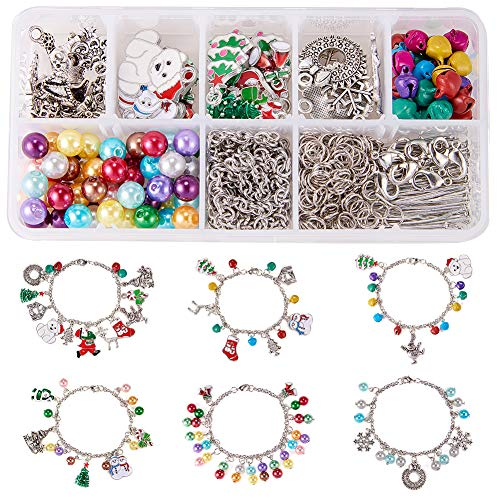 - SUNNYCLUE 1 Box DIY 6PCS Christmas Charm Bracelet Making Kit DIY Silver Tone Metal Pendant Charm Bracelet Jewelry Craft Kits for Beginners