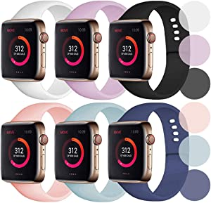 Abincee 6-Pack Bands Compatible with Apple Watch 38mm 40mm 42mm 44mm,Silicone Band for iWatch Apple Watch Series 5/4/3/2/1