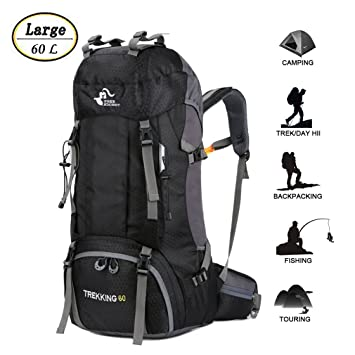9ae79a455ffd 60L Waterproof Ultra Lightweight Frameless Hiking Backpack with Rain  Cover,Frameless,Outdoor Sport Daypack Travel Bag for Climbing Camping  Touring ...