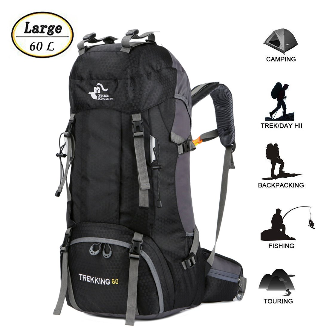 60L Waterproof Ultra Lightweight Hiking Backpack with Rain Cover,Outdoor Sport Daypack Travel Bag for Climbing Camping Touring Mountaineering Fishing (Black)
