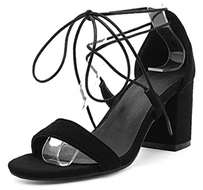 82a422d7f76 Amazon.com | Easemax Women's Sexy Self Tie Mid Chunky Heel Open Toe ...