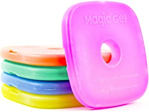 5 x Ice packs for Lunch Bags and Lunch Boxes. Long Lasting, Reusable, Small and Thin. The Perfect Cooler for a Kids lunch box! (by Magic Gel)