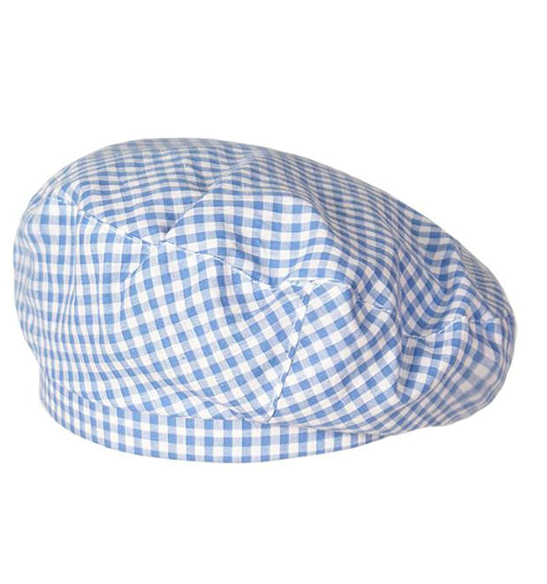 Cotton Blend Beret Checked Print Flat Top Berets Fashion French Style Painters Hat Cap