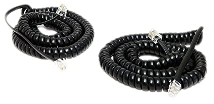 iMBAPrice (Pack of 2) Black Coiled Telephone Phone Handset Cable Cord 0309a0eb34b