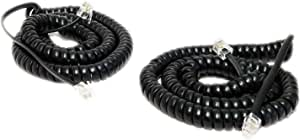 Minidi (Pack of 2) Black Coiled Telephone Phone Handset Cable Cord, Coiled Length 3 to 12 feet Uncoiled (Value Pack)