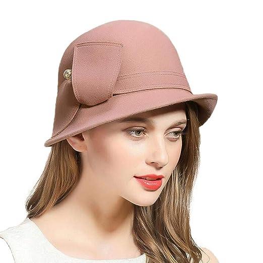 9632e5b0da7 FADVES Wool Felt Hats Wide Brim Fedora Hat Cloche Bowler Round Cap Vintage  Fedoras Pink at Amazon Women s Clothing store