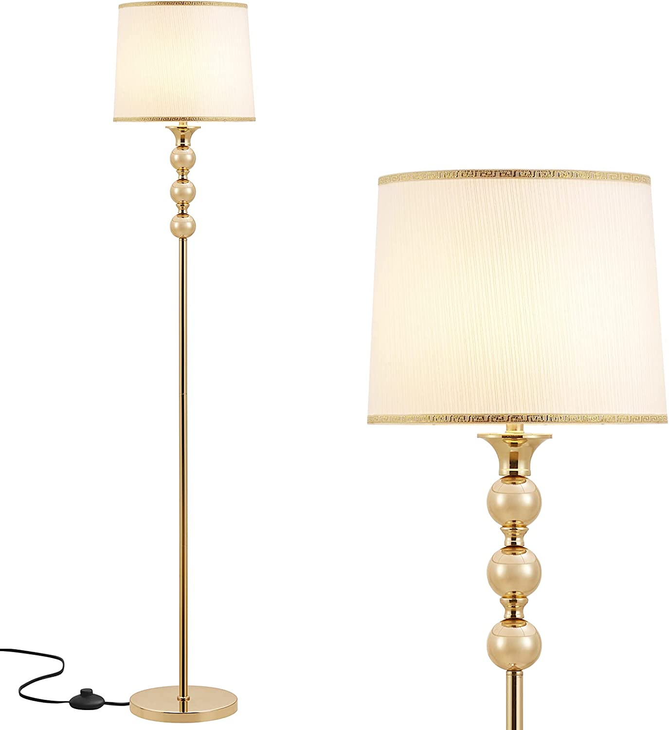 Gold Floor Lamp for Living Room Lighting, Ambimall Modern Standing Lamp with Unique Design, Tall Pole Lamp for Bedroom Kitchen Office Dinning Room, Mid Century Modern Floor Lamp with Elegant Lampshade