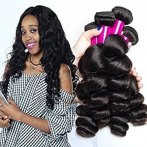 ALI MODA 8A Grade Brazilian Loose Wave Hair 4 Bundles 100% Unprocessed Human Hair Natural Color 95-105g/pc 20 22 24 26