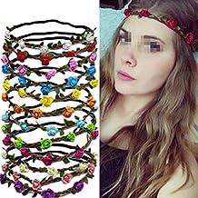 Set of 6 Assorted Colours Hippie Flower Crown Headband Halo Women Girls Boho Style Wedding Crown