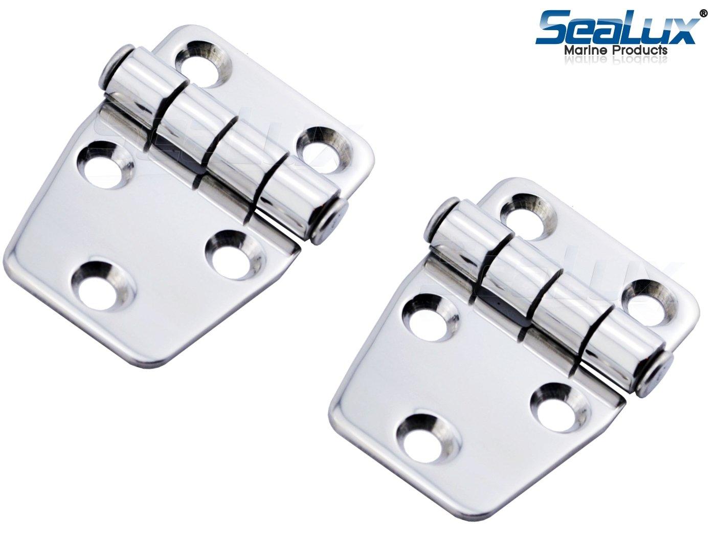SeaLux Marine SS Short Side Hinge 2-1/8'' x 1-1/2'' for Locker / Hatch Door (Pair)