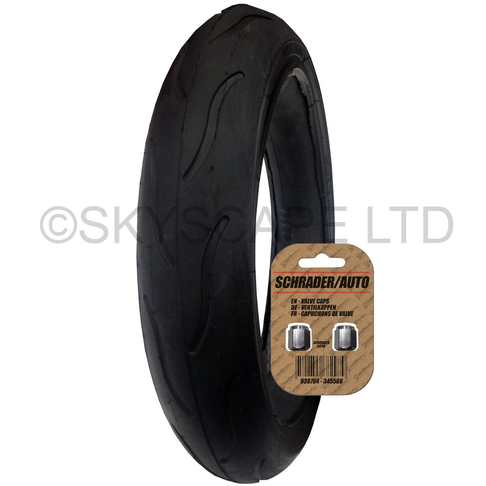 Stroller / Push Chair / Buggy / Jogger Tire - 300 x 55 (Black) Super Grippy & Fast Rolling + FREE Shipping + FREE Upgraded Skyscape Metal Valve Caps (Worth $4.99)
