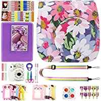 Elvam 12 in 1 Camera Accessory Bundles Set for Fujifilm Instax Mini 8 - Light Purple Floral (Mini 8 Case/Camera Strap/Album/Film Frames/Stickers/Border Stickers/Lens/Filter/Owl Clip/Pens/Scissors)