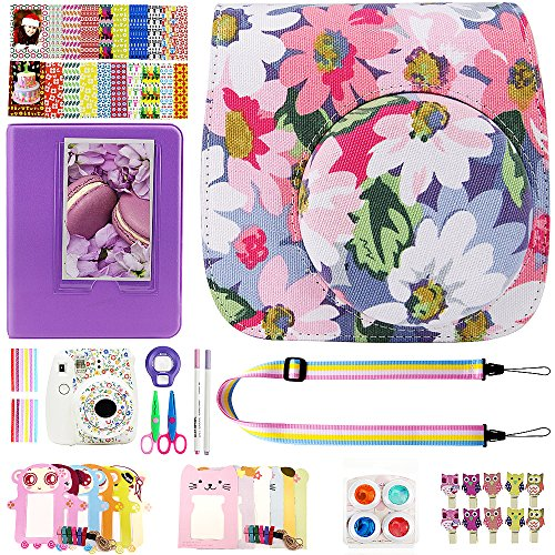 Elvam 12 in 1 Camera Accessory Bundles Set for Fujifilm Instax Mini 8 – Light Purple Floral (Mini 8 Case/Camera Strap/Album/Film Frames/Stickers/Border Stickers/Lens/Filter/Owl Clip/Pens/Scissors)