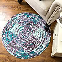 Bedsure Round Area Rug 3 Feet Rusitc Vintage Indoor Flower Hand Quilted Design Turquoise and Purple Machine Washable for Bedroom