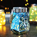 HOME MOST 5.5'' Tall Hanging Mason Jar Lights Battery Operated (Blue Dodecagon Jar, 5hr Timer) - Glass Decorative Jars with Lids for Home Decor - Mason Jars Decorations Decorative Lights for Outdoors