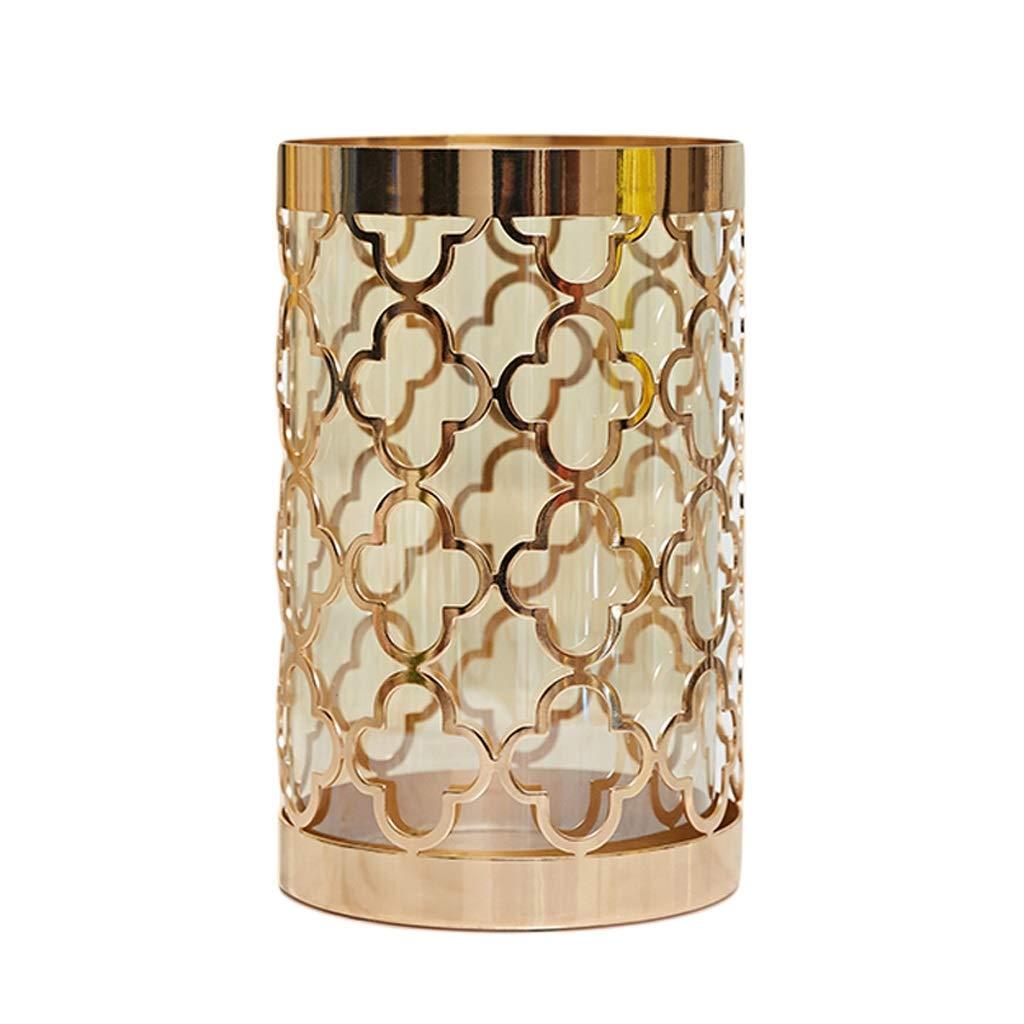 ドライフラワーの偽の花、ホームオフィスやパーティーのための理想的な卓上装飾、金の切り欠きのデザイン20 cm / 25 cm高のための円柱ガラス花瓶ボトルスタイリッシュな水差し (Size : L) B07SQCPZTK  Large