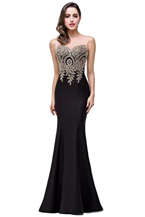 Misshow Mermaid Formal Dresses For Women Evening Plus Size Cocktail Dress Party Dress For Ladies Black
