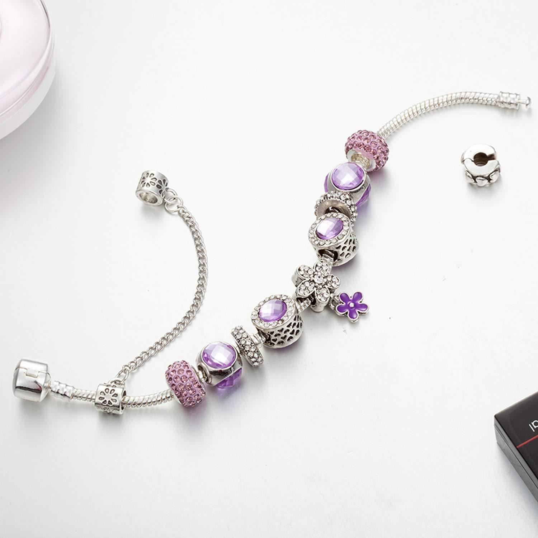 Tiwcer Romantic Purple Charms Beads Charm Bracelet Bangle for Women Cuff Chain Pan Bracelet Best Friendship,Chain Length 20 cm,20Cm