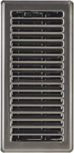 """Hartford Ventilation Floor Register 4"""" x 10"""" - Contemporary Steel Vent Cover for Home - Heavy Duty Modern Metal Design with Scratch Resistant Finish - Smooth Glide Damper (1, Brushed Nickel)"""