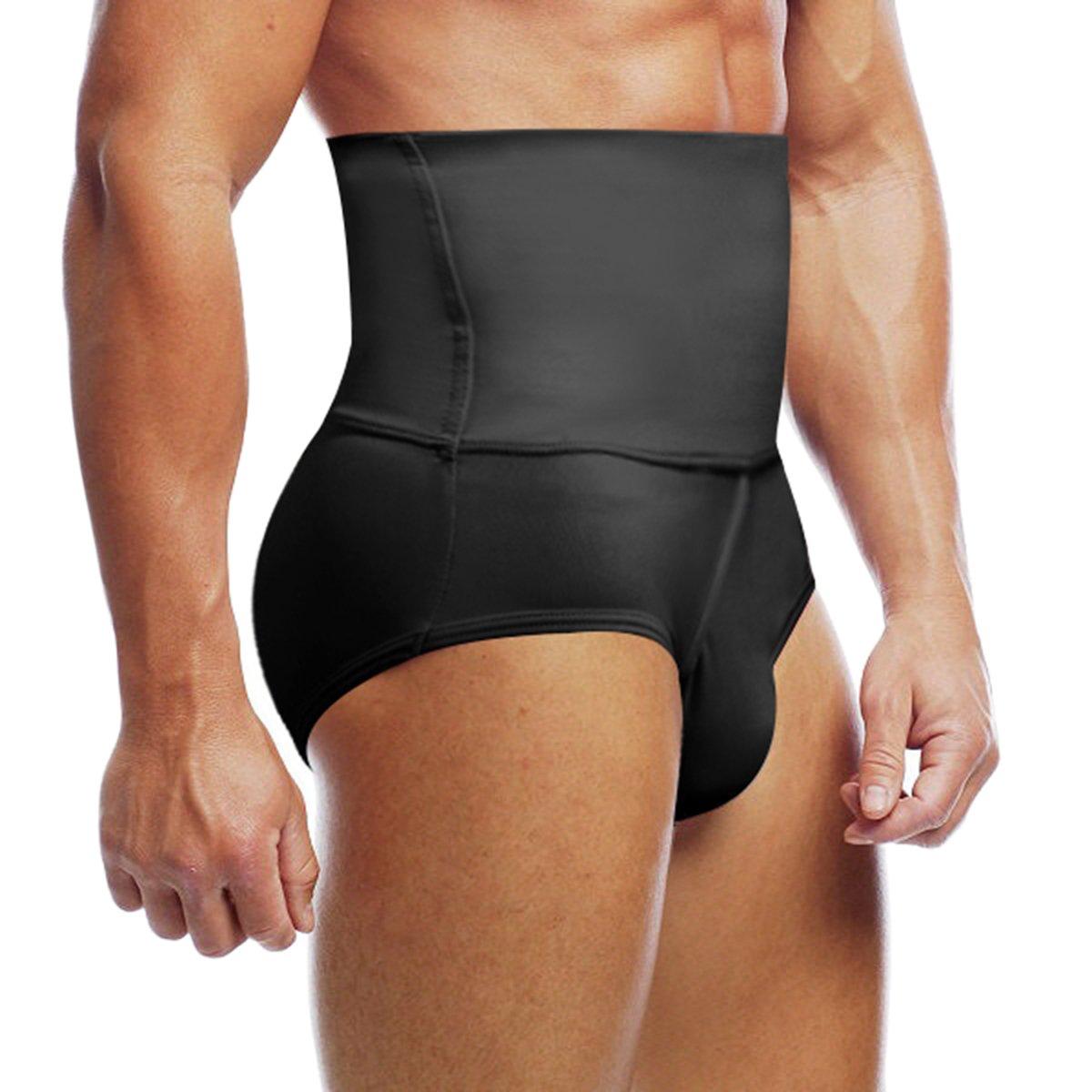 Haseil Men's Slimming Body Shaper High waist Abdomen Tummy Control Shaping Brief, Black, TagsizeL=USsizeM