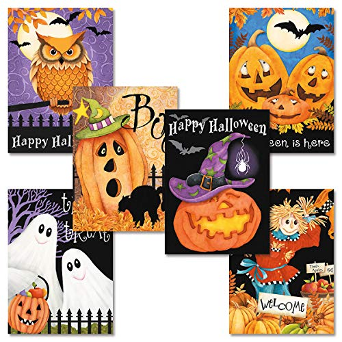 Happy Haunting Halloween Cards- Set of 12 Holiday Greeting Cards with Envelopes, 6 Designs with Sentiments, for Trick or Treating, Party -