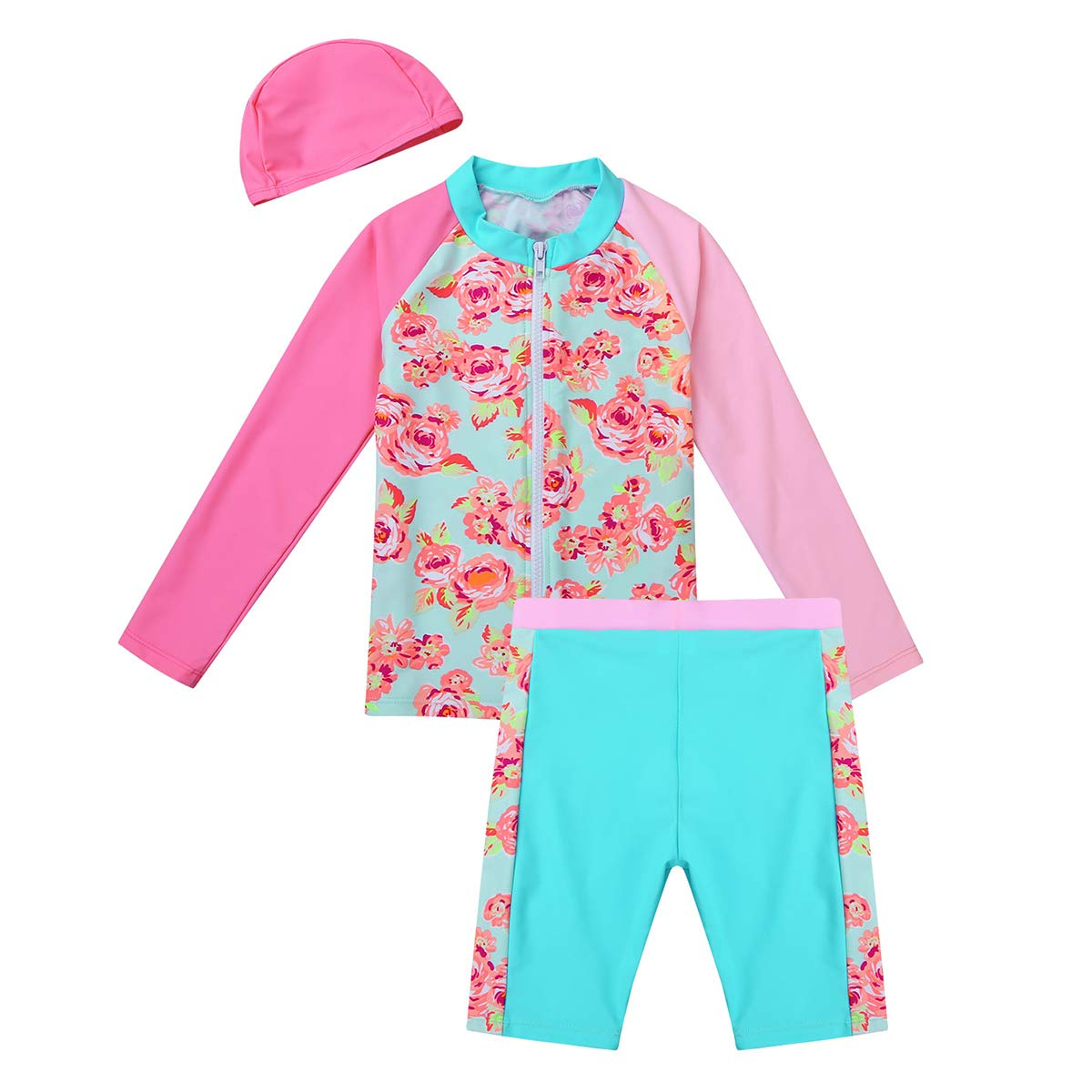 iEFiEL Little Girls Kids Summer Two Piece Boyshort Tops Tankini Kids Swimsuit Swimwear Set
