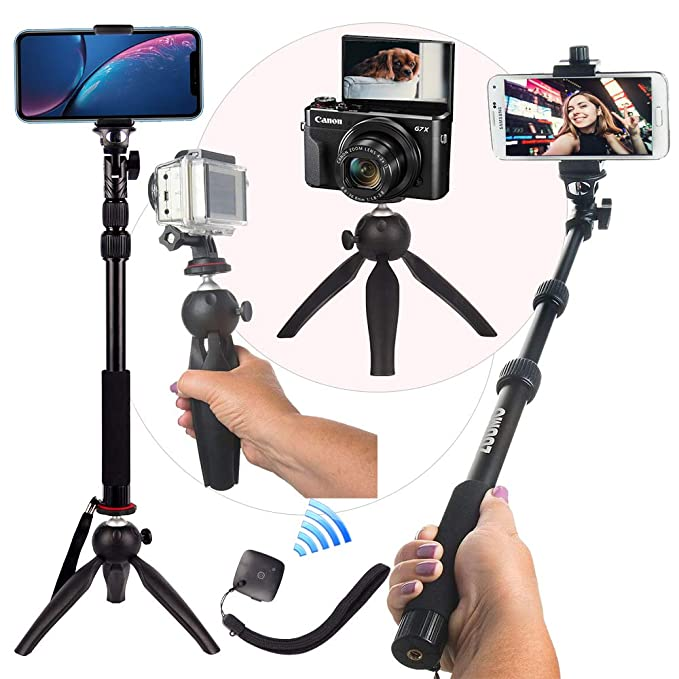 2f07205d820bc0 HEAVY DUTY Premium Selfie Stick Tripod Stand Best 4-in-1 Kit + Bluetooth