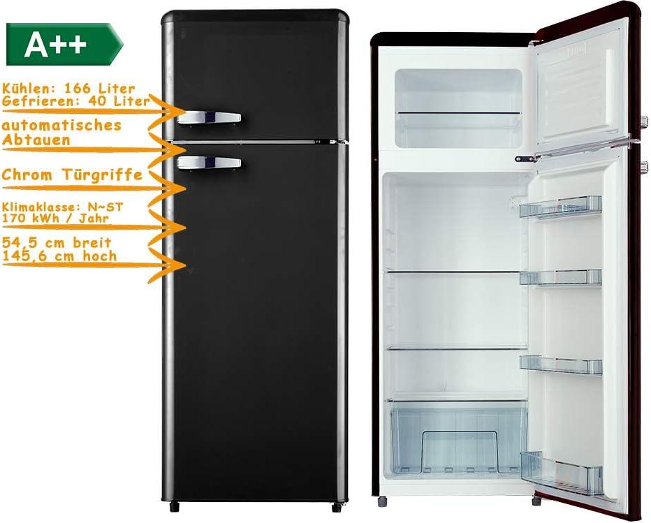 Frigorífico congelador de 206 litros, color negro, 145 cm, A++ 166 ...