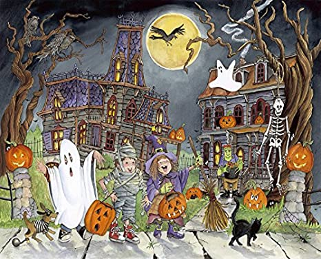 Vermont Christmas Company Halloween House Cat Kids Jigsaw Puzzle 100 Piece