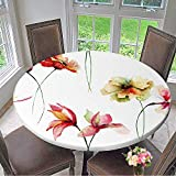 kitchen 67 brunch Round Polyester Tablecloth Table Cover Seamless Wallpaper with Decorative Wild Flowers,Watercolor for Most Home Decor 67