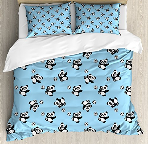 Soccer King Size Duvet Cover Set by Ambesonne, Cute Panda Player Kicking a Ball Kids Boys Design Fun Animal Pattern, Decorative 3 Piece Bedding Set with 2 Pillow Shams, Pale Blue Black White by Ambesonne