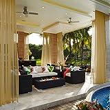 cololeaf Indoor Outdoor Sheer Curtain Patio  Porch  Gazebo  Pergola   Cabana   Dock  Beach Home  Backyard  Country  Garden  Wedding - Rod Pocket - Khaki 52'' W x 84'' L (1 Panel)
