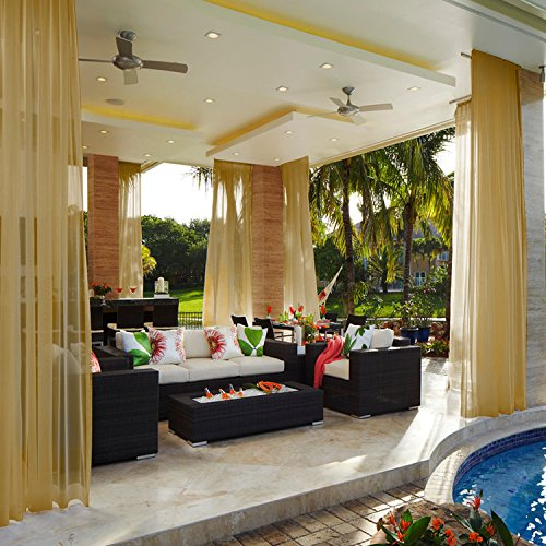 Cololeaf Indoor Outdoor Sheer Curtain Patio Porch Gazebo Pergola