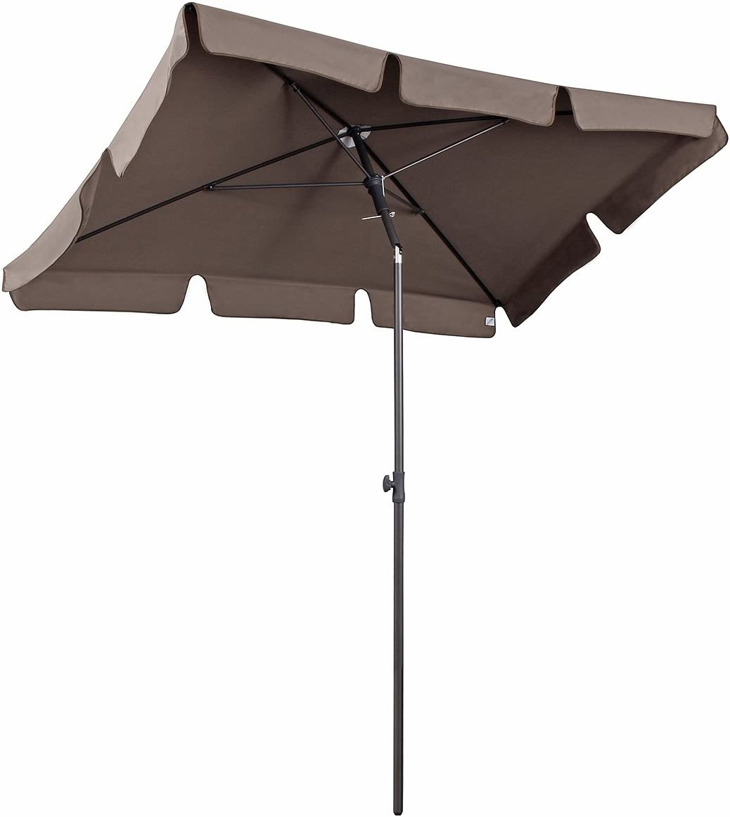 Sekey® Sombrilla 200 x 125cm Parasole para Terraza Jardín Playa Balcón Piscina Patio ,Protector Solar UV50+ , Rectángulo (Taupe)