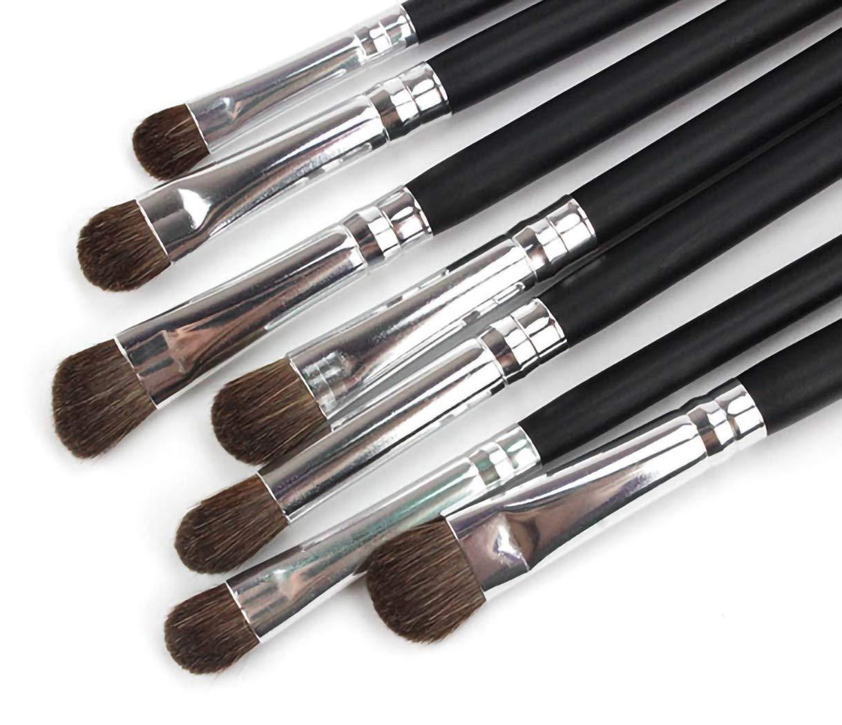 MISUD Eye Makeup Brush Set 7 Pcs Eyeshadow Makeup Brushes with Carrying Bag, Soft Horse Hairs & Real Wood Handle, Eye Brush for Shading, Highlighting, Eye shadow, Eyebrow, Concealer - Silver