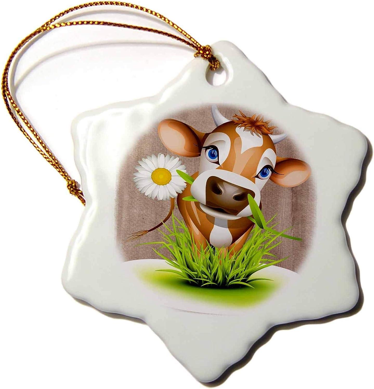 VinMea Jersey Cow in Grass Snowflake Porcelain Ornament, Christmas Ornament Keepsake