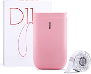 NiiMbot D11 Label Maker Machine Portable Sticker Printer with Tape, Wireless Technology and 1 Roll Transparent Label Paper for Home & Office Organization (Pink)