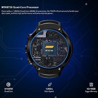 Leegoal New Zeblaze Thor 4 Dual SmartWatch, Zeblaze Thor Dual Camera Android Watch 1.4-inch AMOLED Display 4G Dual Camera,1+16G Memory,Fitness Tracker ...