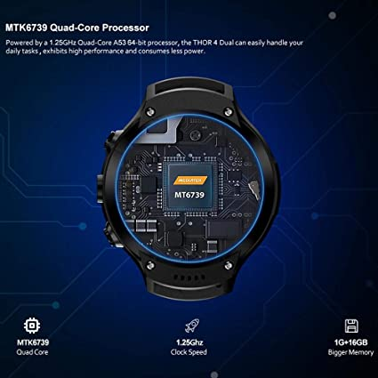 Leegoal New Zeblaze Thor 4 Dual SmartWatch, Zeblaze Thor Dual Camera Android Watch 1.4-inch AMOLED Display 4G Dual Camera,1+16G Memory,Fitness Tracker ...