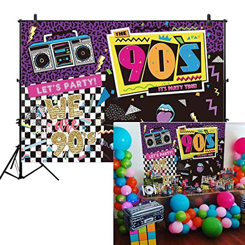 Allenjoy 7x5ft Fabric I Love The 90s House Party Backdrop for Hip Hop Rock Music Dance Disco Wall Colorful 90's Adult Birthday Event Banner Decorations Photo Booth Shoot Photography Wide Background]()