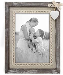 Afuly Distressed Wood Picture Frame 5x7 with Wooden White Heart Rustic Love Photo Frames Burlap Unique for Grandma Wedding Gifts