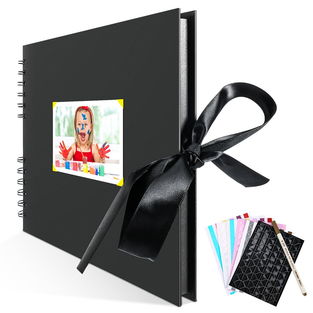 Scrapbook Photo Album, ZOTO Self Adhesive DIY Scrapbooking Kit with 80 Black Pages, Wedding Guest Book, Anniversary Travel Birthday Photo Book, Photo Corners and Metallic Pen Included, 11.5 x 8.5 Inch Shenzhen ZOTO Technology Co. Ltd