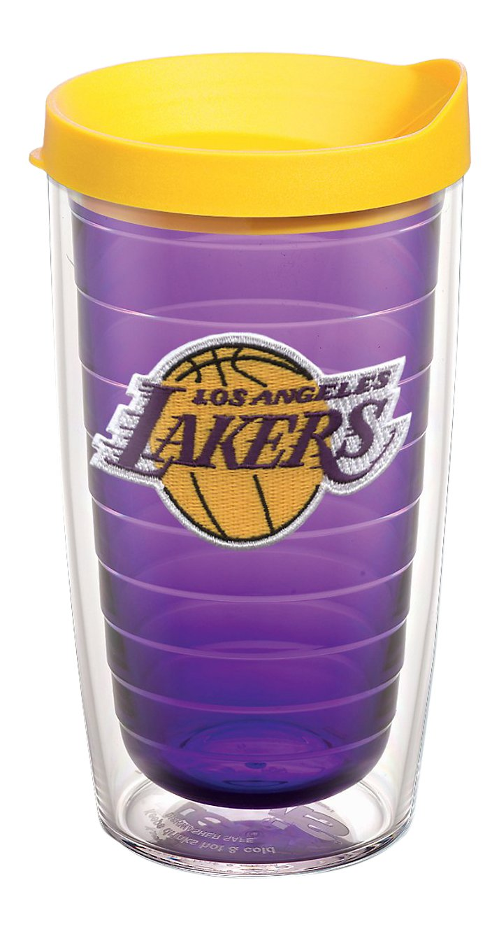 Tervis 1059006 NBA Los Angeles Lakers Primary Logo Tumbler with Emblem and Yellow Lid 16oz, Amethyst