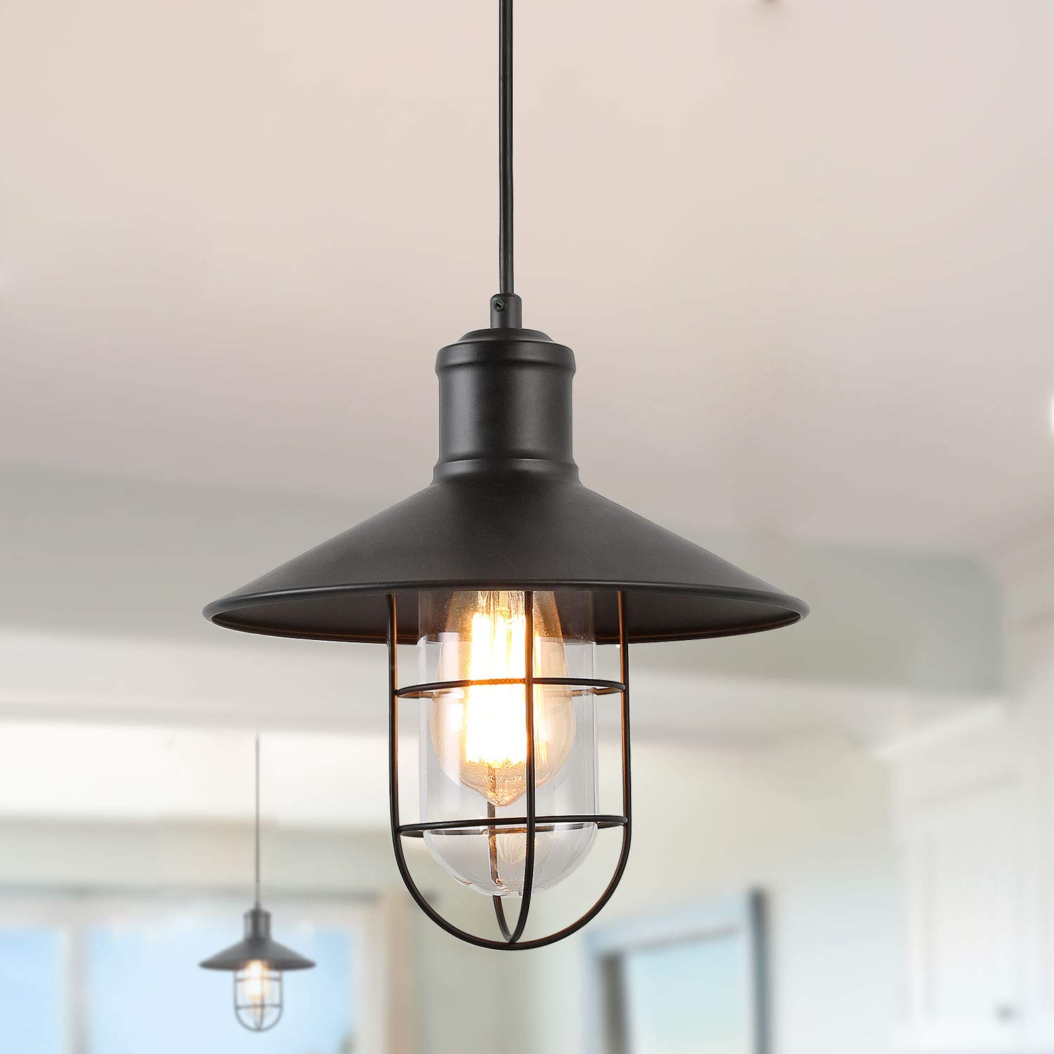 LNC Pendant Lighting for Kitchen Island Black Industrial Hanging Lamp A01910 by LNC