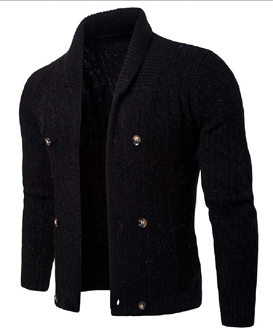 Keaac Mens Casual Slim Fit Knit Button Front Stand Collar Cardigan Sweaters