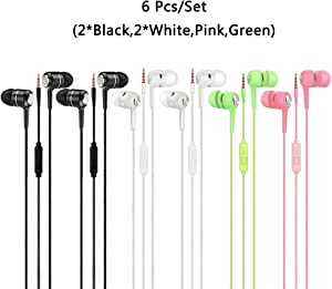 6 Pack Heavy Bass Earphone with Microphone,YuCool in-Ear Bulk Corded Stereo Sound Bass and Noise Isolation for Cellphone,Computer,MP3/MP4,Fits All 3.5mm Interface Device-Black,White,Pink,Green