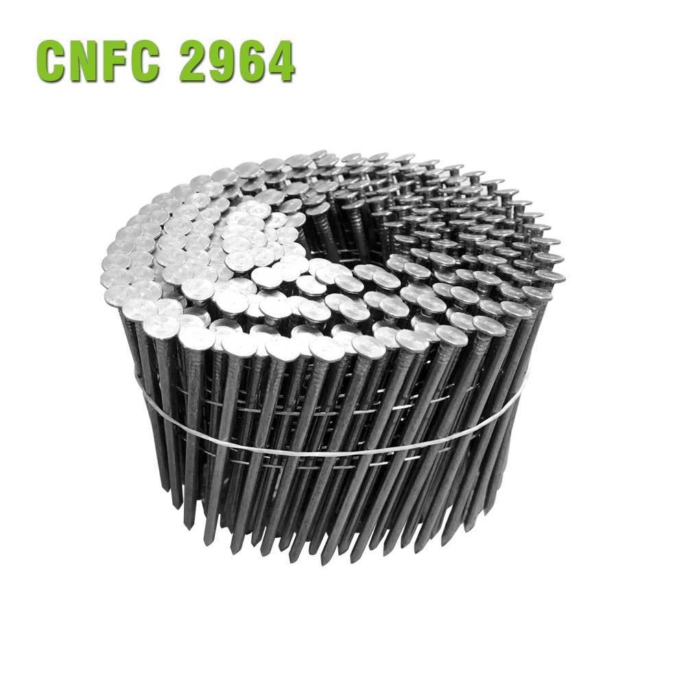 meite CNFC2964S 15 Degree 2-3/8''x 0.113'' Wire Coil Smooth Shank Coil Siding Nails (2000PCS/ Pack)