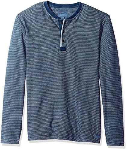 Lucky Brand Men's Casual Long Sleeve 3 Button Henley T Shirt, Indigo, L