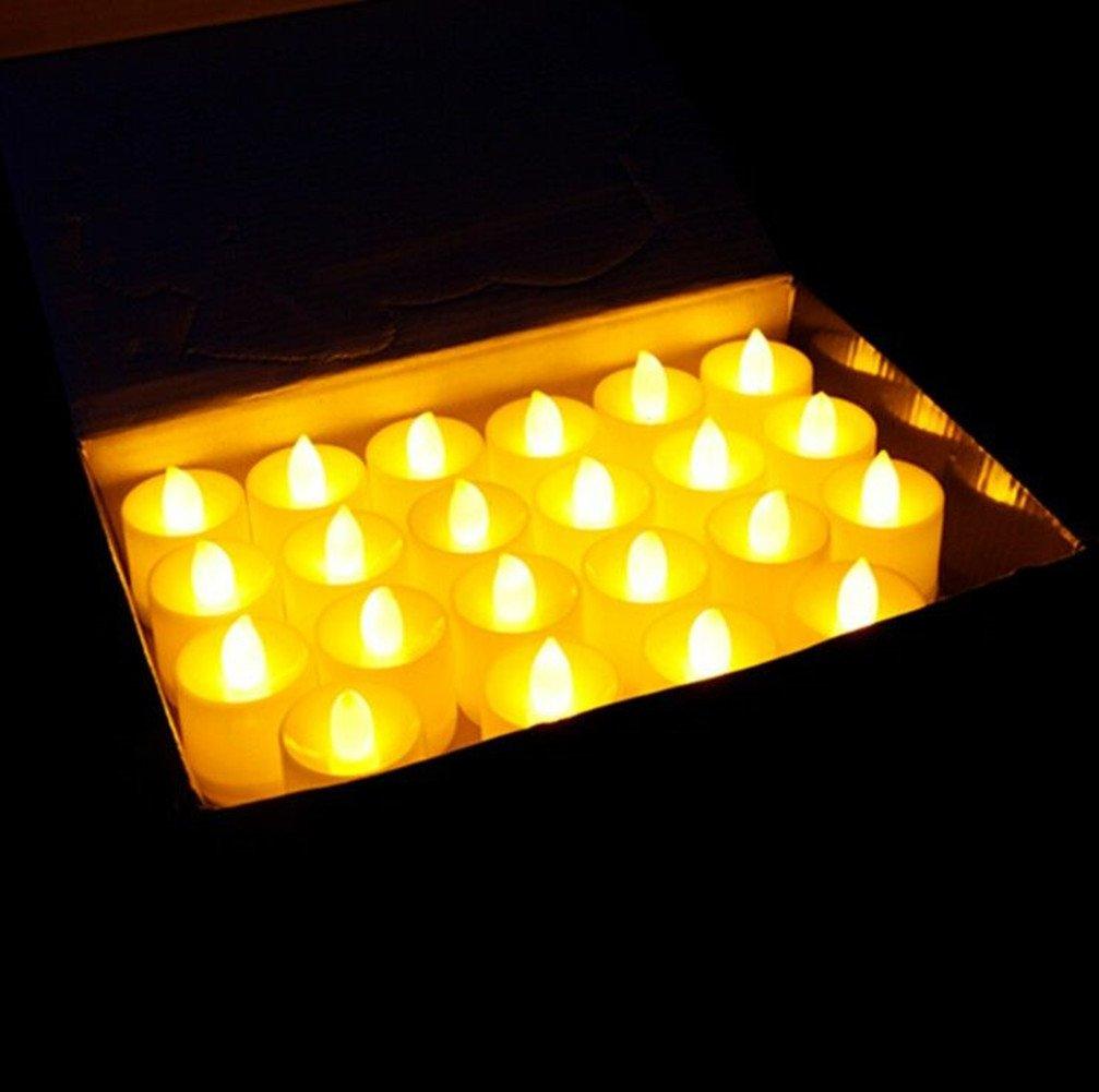 [ 24パック] LED flamelsssキャンドル、csstelティーライトパーティーキャンドルとバッテリーPowered、お祝い、パーティー、結婚式、フェスティバルの装飾ロマンチックキャンドルライト B076JH9TNG 16031  Warm