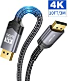 DisplayPort to DisplayPort Cable 10ft, JSAUX 1.2 DP Cable (4K@60Hz, 2K@165Hz, 2K@144Hz) Gold-Plated Braided Ultra High Speed DisplayPort Cord for Laptop PC TV etc- Gaming Monitor DP Cable (Grey)
